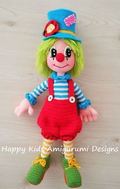 Cute Mr.Clown-2 This is a crochet pattern and not the toy.This is downladable pattern and written in English using US terminology. Acrylic