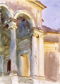 Loggia, Villa Giulia, Rome Artist: John Singer Sargent (American, Florence London) Date: ca. 1907 Medium: Watercolor and graphite on white wove paper Dimensions: 13 x 9 in. Watercolor Architecture, Art And Architecture, John Singer Sargent Watercolors, Sargent Art, Whistler, American Artists, Landscape Paintings, Sketches, Portraits