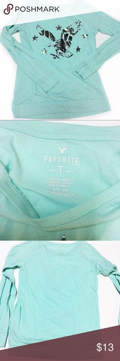 AMerican Eagle favorite T long sleeve s/p Turquoise long sleeve t shirt with silver foil American eagle logo screen print on front  AE favorite T long sleeve s/p American Eagle Outfitters Tops Tees - Long Sleeve
