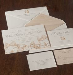 Spark Impress : Chelsea. Letterpress and foil stamping; flush-mounted letterpressed backer on invitation; personalized, letterpressed envelope liner. Customizable and available at Your Occasion.