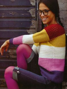 Colour Block Jumper. Pricey patterns. Laughing hens