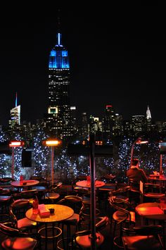 "Magnificent view from the ""230 Fifth"" bar lounge terrace, New York City"