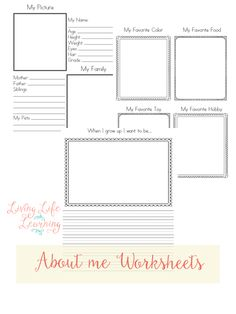 Free About Me Worksheets
