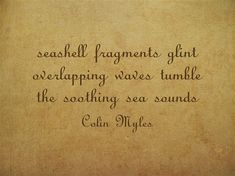 seashell fragments glint overlapping waves tumble the soothing sea sounds Meaningful Words, Haiku, Be Yourself Quotes, Sea Shells, Me Quotes, Waves, Conchas De Mar, Ego Quotes, Haikou