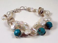 Freshwater White Keshi Pearl and Turquoise Bracelet with Sterling Silver by Elegant Facets