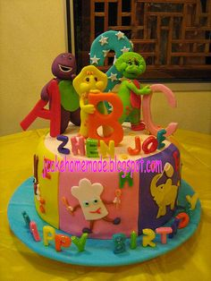 Barney and friends abc theme cake