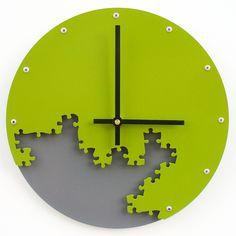 Puzzle Wall Clock III (Eden Green & Granite) Custom Colors Available. $52.00, via Etsy.
