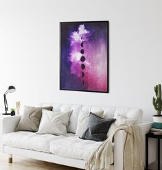 Boho Purple Moon Art by InfiniteMantra. Purple Moon Print, Moon Phase Art, Art for Yoga Studio, Art for Office, Boho Moon Decor, Luna Phase Art, Bedroom Art. A unique wall decor print of my original artwork. A one of a kind piece of art that will bring color and life to bedroom, living room, home office, any room. My art is inspired by dreams, taking you to a magical realm where anything is possible. #yogaart #wallpainting #bedroomdecor Contemporary Art Prints, Fine Art Prints, Moon Phases Art, Cosmic Art, Moon Decor, Moon Print, Unique Wall Decor, Galaxy Art, Studio Art