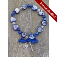 Speckled Murano Glass Blue Hearts Rosary Bracelet w/Blue Ribbon