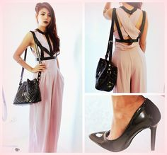 Fake Leather Strap Top, Love Nude Crepe Jumpsuit, Claw Bangle, Drawstring Bucket Bag, Pointed Toe Stiletto High Heel