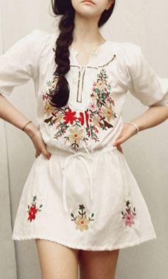 Embroidery  waisted white dress 3579