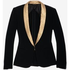 rag & bone Sliver Tuxedo Jacket with Gold Shawl Collar (¥20,360) ❤ liked on Polyvore featuring outerwear, jackets, blazers, tops, coats, black dinner jacket, single button blazer, black jacket, black one button blazer and black blazer jacket