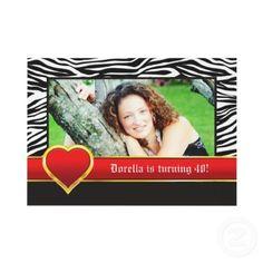 Black white zebra & red heart birthday photo personalized invitations