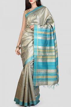 Silver & Turquoise Tussar Silk Saree