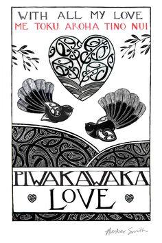 With all my love - Me toku aroha tino nui Nz Art, Art For Art Sake, Maori Words, Maori Designs, New Zealand Art, Maori Art, Machine Embroidery Projects, Kiwiana, Rock Crafts