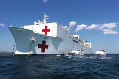 STRANGE NAVAL EQUIPMENT - USS MERCY - US NAVY HOSPITAL SHIP WITH TENDERS!