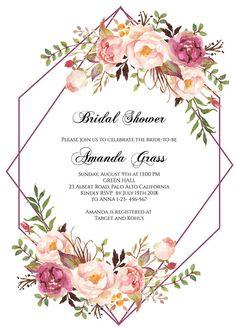 Boho Chic Bridal Shower Invitation Instant Download, Blush Floral Bridal Shower Invitation Template, Bridal Shower Invitation Printable, 036