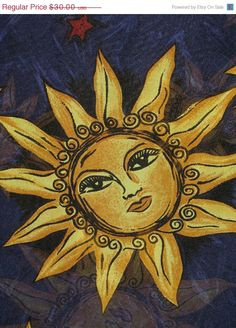 Your place to buy and sell all things handmade Sun Art, Silk Chiffon, I Tattoo, Mystic, Cute Pictures, All Things, Salt Dough, Celestial, Awesome