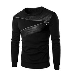 Leather Patchwork Black Hoodies Men Zipper Male Pullover Moletom Man S – Onine Shop T-shirt En Cuir, Sweat Cool, Sweater Jacket, Men Sweater, Men Cardigan, Hooded Sweater, Leather T Shirt, Pu Leather, Leather Tops