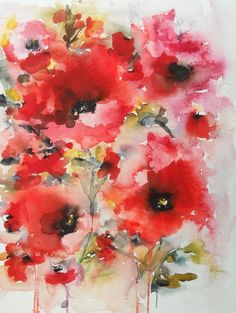 "Saatchi Art Artist: Karin Johannesson; Watercolor 2014 Painting ""Poppies en masse VIII"""
