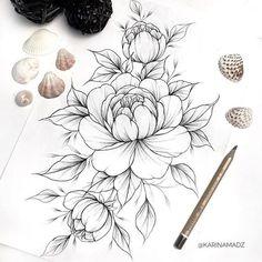 Flowers tattoo sketch peonies 44 ideas for 2019 tattoo designs ideas männer männer ideen old school quotes sketches Peony Drawing, Floral Drawing, Leg Tattoos, Body Art Tattoos, Sleeve Tattoos, Female Tattoos, Tatoos, Tattoo Sketches, Tattoo Drawings