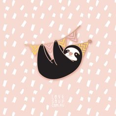 Sloth Party Animal Hard Enamel Pin by LOVEisSOUP on Etsy