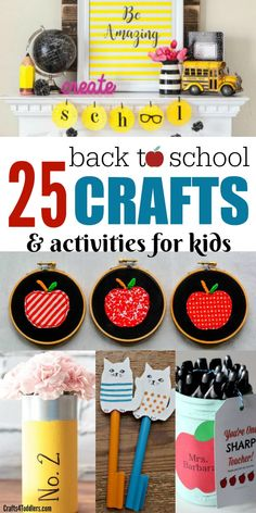 Have some back to school fun with this great list of back to school crafts and activities for kids. There are a lot of fun craft ideas, printables and teacher gift ideas too. #backtoschoolcrafts #craftsforkids #teachergiftideas