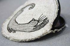 Linen Round Purse KusKats Cat by kuskatdesigns on Etsy