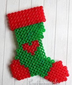 Stocking Perler Bead Pattern Ornament | Make a little beaded ornament in the shape of a Christmas stocking.