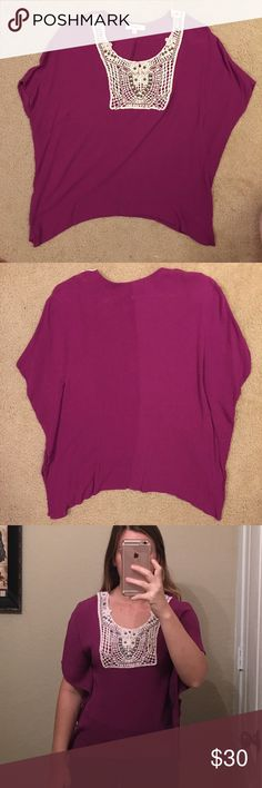 Umgee Plum Top Plum Umgee Top.  Size Small.  Lace and beaded design.  Flowy style and soft material.  Bought from a boutique but I prefer a little longer top. Umgee Tops Tunics