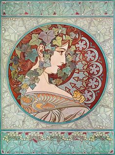 "Alphonse (Alfons) Mucha- Ivy 1901--24""x32"" Art Nouveau CANVAS ART #PopArt"