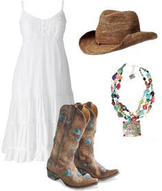 """""""White cowgirl sundress"""" by jenna-mann23 on Polyvore omigosh...this is the one! whole outfit...wedding day"""