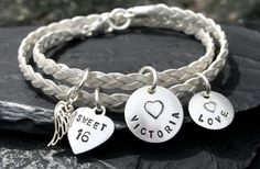 Sweet 16 Birthday white leather charm bracelet gift present with personalised insert muxTf