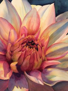 Detail Dahlia watercolor by Laura Kirste Campbell