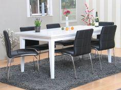 Tvilum Venetië - Eethoek met 6 stoelen - 95x180 cm - Wit/Zwart