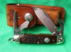 Etched Vintage BSA Boy Scout Ulster Pocket Knife w Leather Scout Sheath | eBay