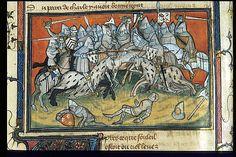 Battle of Auray - Detail, Yates Thompson 35, Fol 90v, ~1380-92, La chanson de Bertrand du Guesclin, British Library