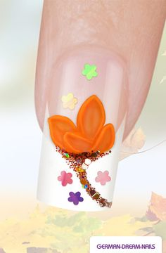 Step by Step: Orange 3D Acrylic Flower Nails http://www.german-dream-nails.com/nailart-anleitung-orange-3d-acrylic-flower-nails #gdn #jolifin #nails #naildesign #nailart #autumn #herbst #acryl