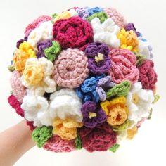 Keepsake Crochet Wedding Bouquet - Bright Spring Colors, Elopement, Alternative Bouquet, Eco Bouquet