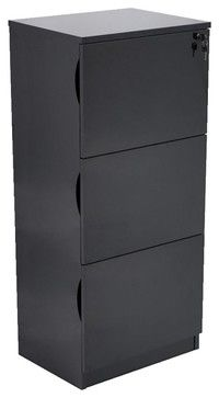 Forbes 3 Drawer Black High Gloss Filing Cabinet contemporary-filing-cabinets-and-carts