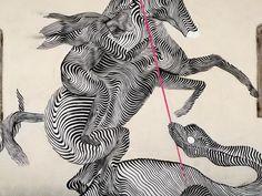 2501 Horse Outline, Graffiti, Street, Abstract, Illustration, Artwork, Stripes, Artists, Summary