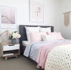 "1,262 Likes, 11 Comments - Immy + Indi (@immyandindi) on Instagram: ""The pretty bedroom of @myhomestyle89   #bedroomdecor #bedroomdesign #bedroominspo"""