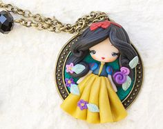 Items similar to polymer clay necklace / steampunk Alice / disney / princess / clay on Etsy