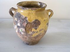 French Antique Confit Pot Handmade Glazed Pottery Bowl
