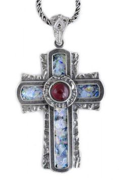 Cross Pendant, Ancient Roman Glass Pendant, Garnet Pendant, 925 Sterling Silver Pendant, 925 Sterling Silver Cross, Unique Jewelry by DavidShamayJewelry on Etsy https://www.etsy.com/listing/108390698/cross-pendant-ancient-roman-glass