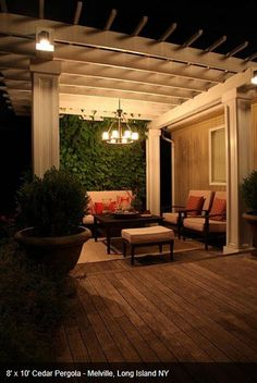 Pergola lighting can be a permanent outdoor chandelier.