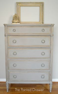 Davis Cabinet Co. Vintage Chest www.thepainteddrawer.com French Linen with gold accents