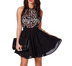 Kearia Women Sexy Sleeveless Cross Backless Halter Lace Chiffon Pleated Skater Dress Black