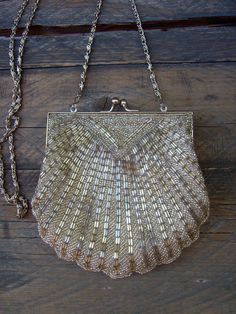 80s does 1920s FLAPPER silver beaded SHELL PURSE pouch by LENGO28, $32.00