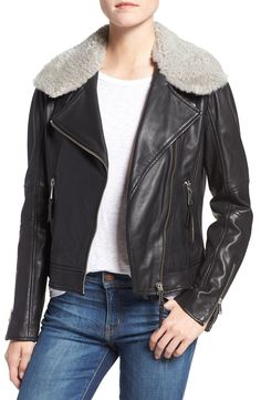 Andrew Marc Asymmetrical Zip Leather Jacket with Genuine Shearling | Nordstrom